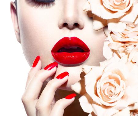 Fashion Sexy Vrouw met bloemen Vogue stijl Model Stockfoto