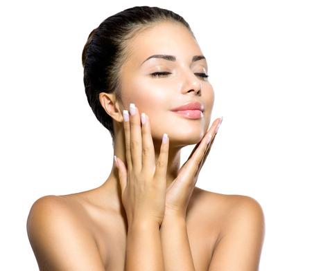 Beauty Spa žena portrét krásné dívky dotkl její tváře