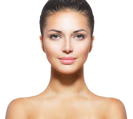 청소 신선한 피부를 가진 아름 다운 젊은 여자 스톡 콘텐츠