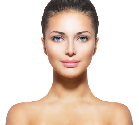 Beautiful Young Woman with Clean Fresh Skin  photo