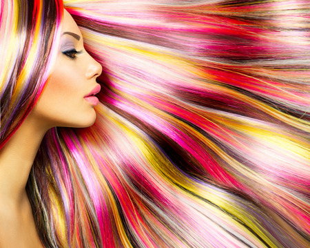 Beauty Fashion Model Girl with Colorful Dyed Hair Banco de Imagens