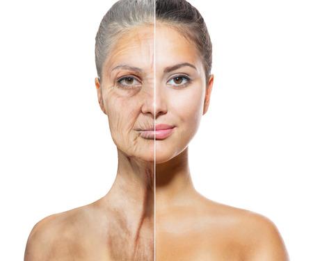 노화 스킨 케어 개념은 젊은이와 노인 여성의 얼굴