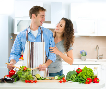 Happy Couple Cooking Together  Dieting  Healthy Food photo