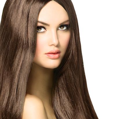 beleza: Beleza com longo saudável e brilhante cabelo liso Brown Imagens
