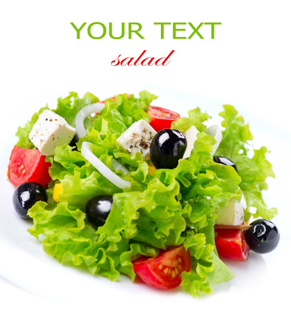 Mediterranean Salad  Greek Salad isolated on a White Background Stock Photo - 26401285