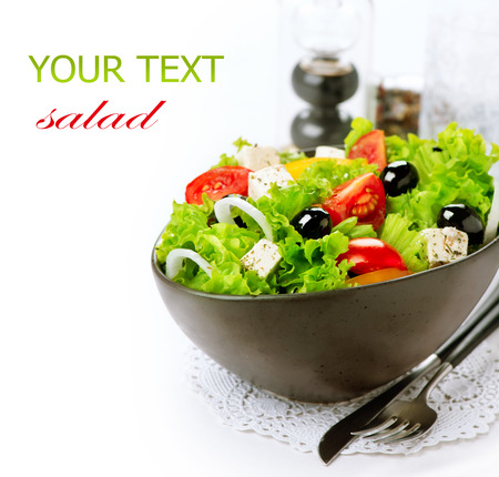 Mediterranean Salad  Greek Salad isolated on a White Background Stok Fotoğraf