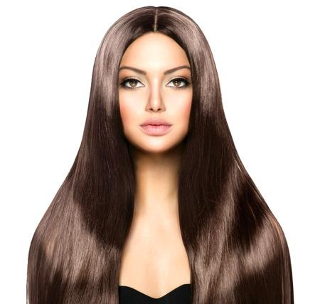 Beauty vrouw met lang gezond en glanzend Smooth Brown Hair