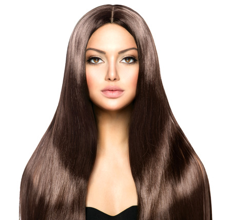shiny hair: Beauty Woman with Long Healthy and Shiny Smooth Brown Hair Stock Photo