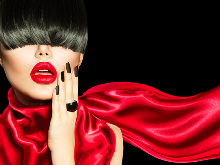 fashion girl: High Fashion Girl with Trendy Hairstyle, Makeup and Manicure Stock Photo