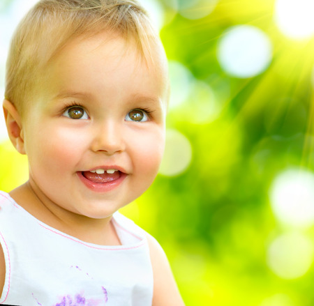 Little Baby Girl Portrait Outdoor  Smiling Cute Child