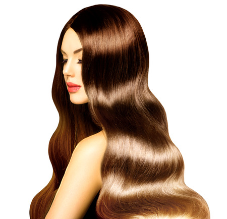 오래 건강 곱슬 머리와 완벽한 메이크업 뷰티 모델 소녀 스톡 콘텐츠 - 27472367