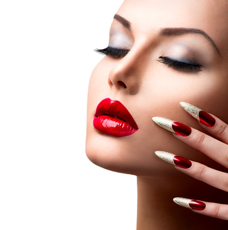 Mode Beauty Model Girl Manicure en Make-up Stockfoto