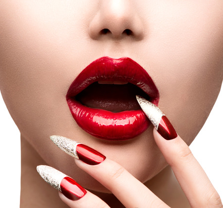 Fashion Model Girl Face  Makeup and Manicure photo