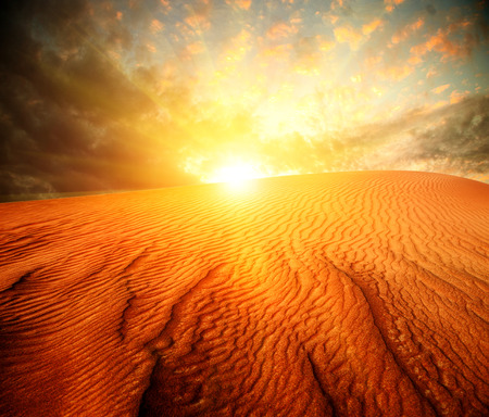 Desert  Sand Landscape with Sun photo