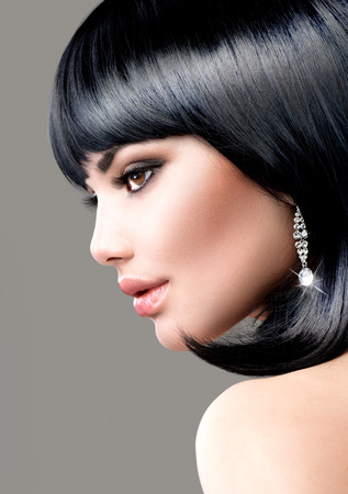 jewelleries: Beautiful Brunette Woman  Bob Haircut  Short hair