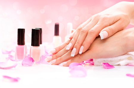 spa: Manicure and Hands Spa  Beautiful Woman Hands Closeup