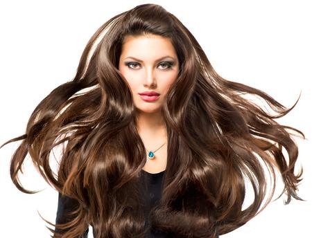 Fashion Model портрет девушки с длинными дует волос Фото со стока