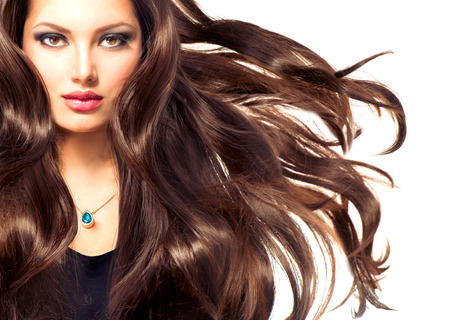 Fashion Model Girl Portrait with Long Blowing Hair Imagens