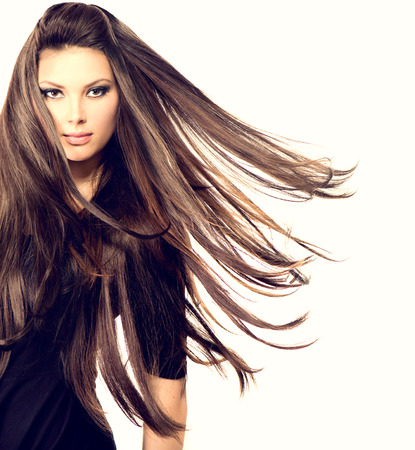 Fashion Model Girl Portrait with Long Blowing Hair Stock Photo