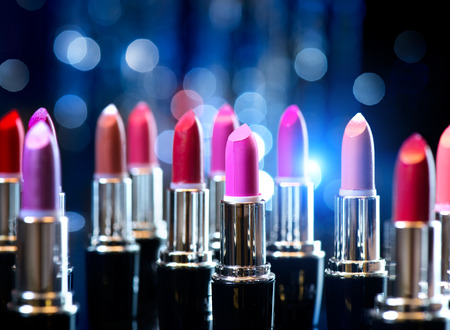 Fashion Colorful Lipsticks  Professional Makeup and Beauty Stock Photo