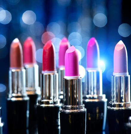 beige lips: Fashion Colorful Lipsticks  Professional Makeup and Beauty Stock Photo
