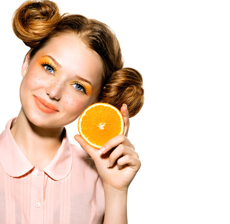 Beauty Model Meisje met Juicy Orange Joyful Tienermeisje