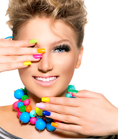 Beauty Girl with Colorful Makeup, Nail polish and Accessories
