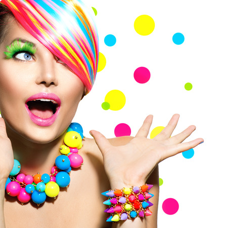 colours: Beauty Portrait with Colorful Makeup Manicure and Hairstyle