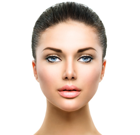 close up face: Beautiful Face of Young Woman with Clean Fresh Skin