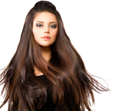 Fashion Model Girl Portrait with Long Blowing Hair photo