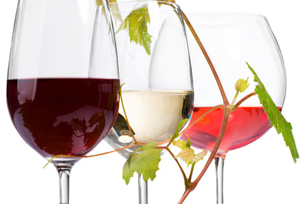 Three glasses of wine isolated on white background photo