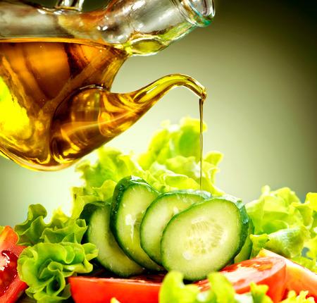 dressing: Healthy Vegetable Salad with Olive Oil Dressing