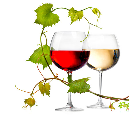 Two glasses of red and white wine decorated with grape leaves Фото со стока