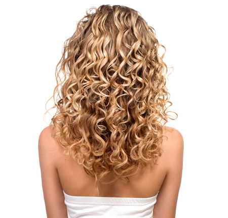 flaxen: Beauty girl with blonde permed hair  Backside Stock Photo