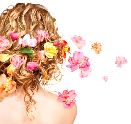 Hairstyle with colorful flowers  Haircare concept  Backside view