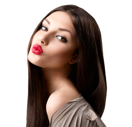 lip kiss: Beauty fashion girl portrait  Beauty brunette model