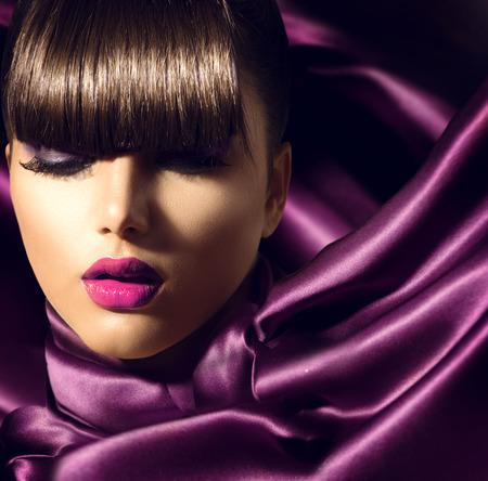 Fringe  Fashion Model Girl With Trendy Hairstyle photo
