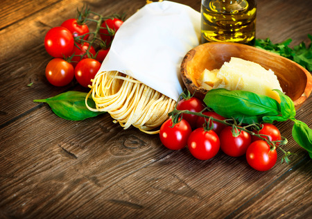 mediterranean cuisine: Cooking Pasta  Homemade Spaghetti Stock Photo