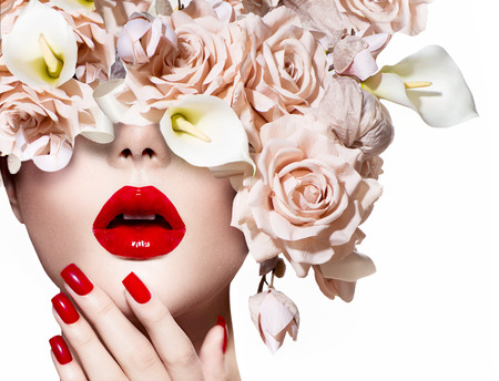 Fashion sexy woman  Vogue style model girl face with roses photo