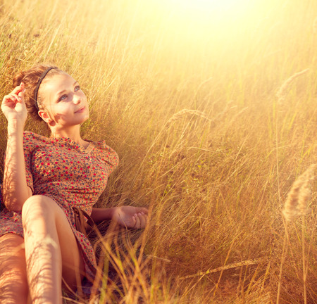 Beleza romântica Menina Ao Ar Livre Imagens