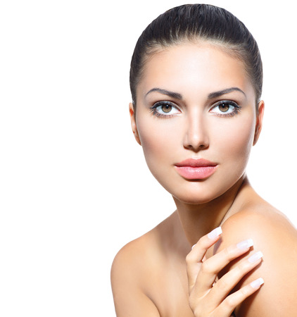 clean skin: Beautiful Face of Young Woman with Clean Fresh Skin