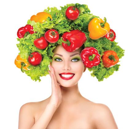 야채와 아름다움 여자는 다이어트 개념 헤어 스타일 스톡 콘텐츠
