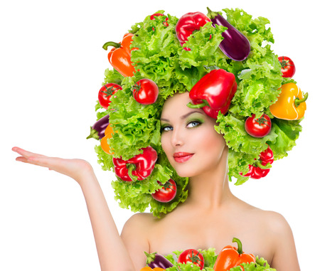 eggplants: Beauty girl with vegetables hairstyle  Dieting concept Stock Photo