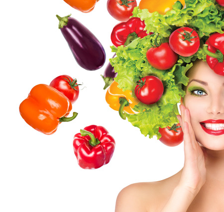 beautiful woman face: Beauty girl with vegetables hairstyle  Dieting concept Stock Photo