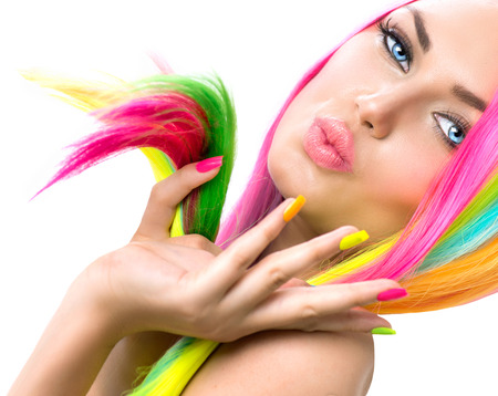 Beauty Girl Portrait with Colorful Makeup, Hair and Nail polish Imagens