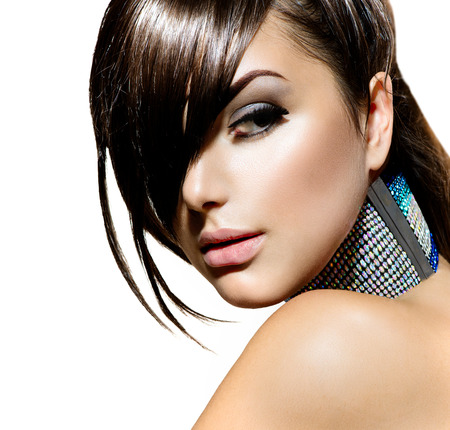 Fashion Beauty Girl  Stylish Fringe Haircut and Makeup Stock Photo
