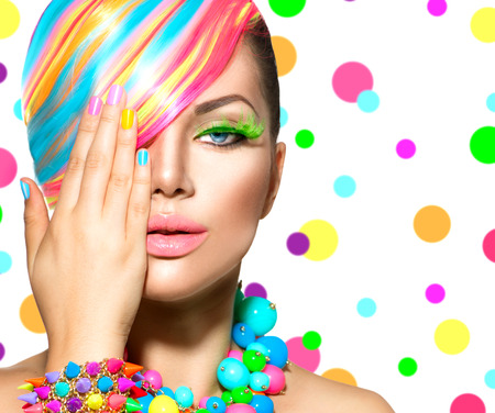 dye: Beauty Girl Portrait with Colorful Makeup, Hair and Accessories Stock Photo