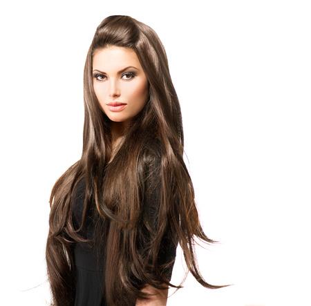 오래 건강하고 빛나는 부드러운 갈색 머리를 가진 아름다움 여자 스톡 콘텐츠