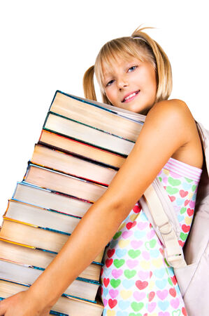 Pretty little schoolgirl with stack of books  Education concept photo