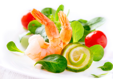 appetizers menu: Prawn salad  Healthy shrimp salad with mixed greens Stock Photo
